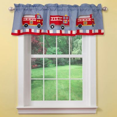 Cotton Fire Truck Window Valance