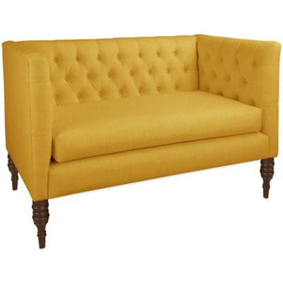 Skyline Furniture Tufted Settee in Linen French Yellow