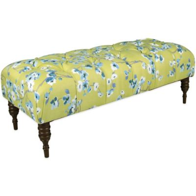 Skyline Furniture Tufted Bench in Sakura Green Tea