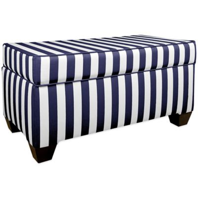 Skyline Furniture Fashion Storage Bench in Canopy Stripe Storm/Twill