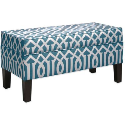 Skyline Furniture Trendy Storage Bench in Integrate Teal