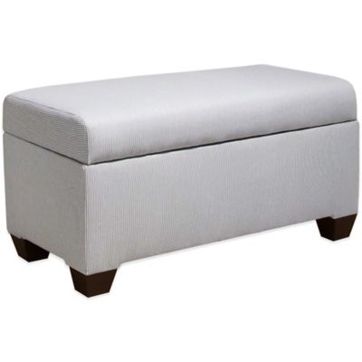 Skyline Furniture Storage Bench in Oxford Stripe Charcoal