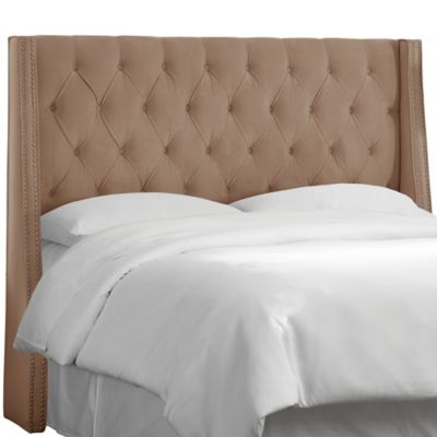 Skyline Furniture Tufted Wingback King Headboard in Velvet Cocoa