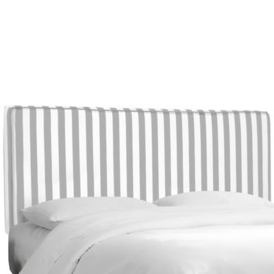 Skyline Furniture Stripe Upholstered Queen Headboard in Canopy Storm