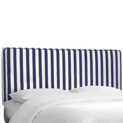 Skyline Furniture Stripe Upholstered Queen Headboard in Canopy Blue