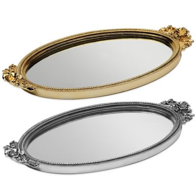 Taymor Antique Rose Resin Mirror Vanity Tray in Silver