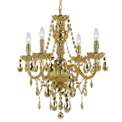 AF Lighting Elements Series Naples 4-Light Mini Chandelier in Gold