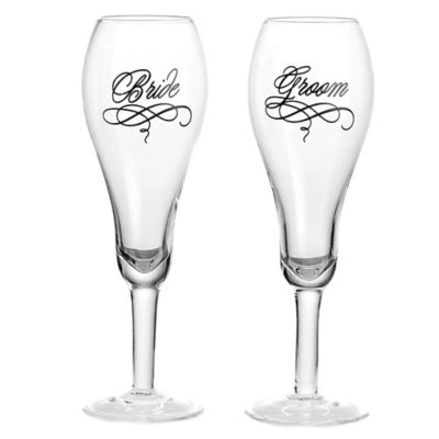 Bride and Groom Toasting Glasses