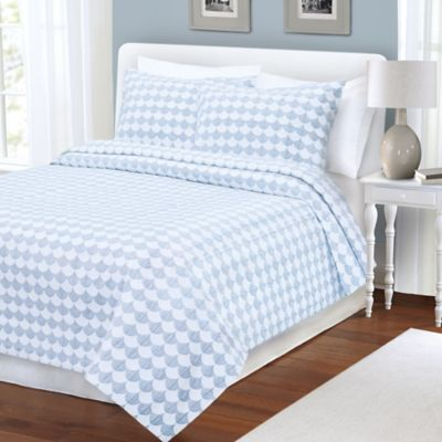 Finley King Coverlet in Blue/White