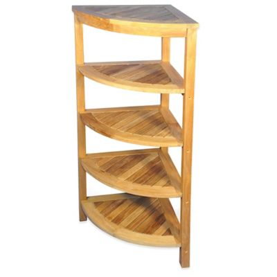 5-Shelf Solid Teak Corner Shelf Unit