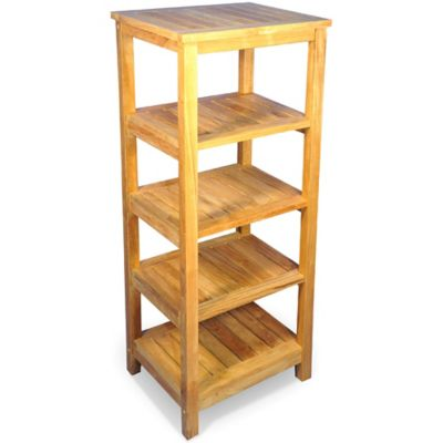 5-Shelf Teak Square Shelf Unit