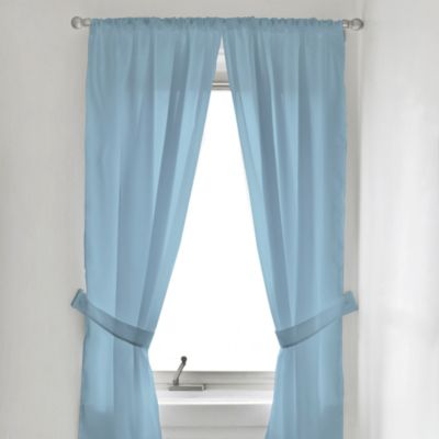 Fabric Window Curtain Panel Pair in Blue