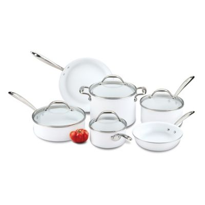 Lagostina Bianca 10-Piece Ceramic Piece Cookware Set in White