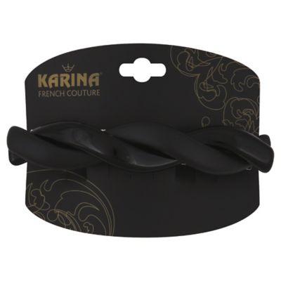 Karina French Couture Shiny/Matte Twist Barrette in Black