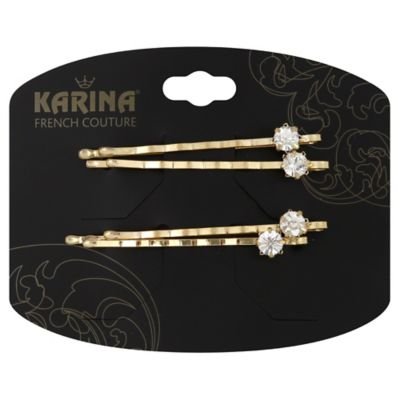 Karina French Couture 2-Pack Rhinestone Bobby Pin in Gold