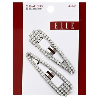 Elle 2-Pack Clear Rhinestone Snap Clip