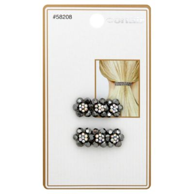 Conair® 2-Count Black Diamond Flower Jean Wire Barrettes