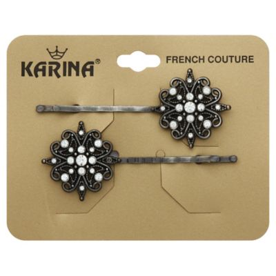 Karina French Couture 2-Count Filigree Bobbies in Silver