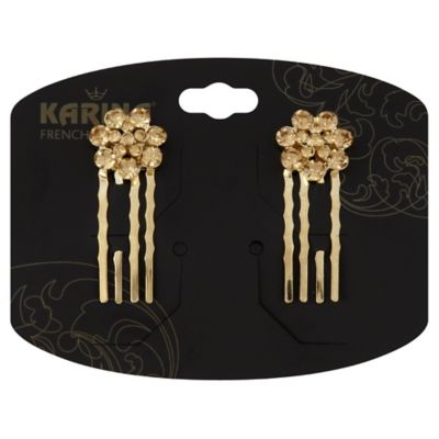 Karina French Couture 2-Pack Gold Rhinestones Flower Comb