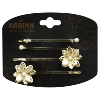 Karina Flower & Pearl 4-Pack Bobby Pins