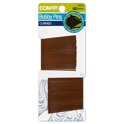 Conair® 60-Count Bobbie Pins Curved in Brown