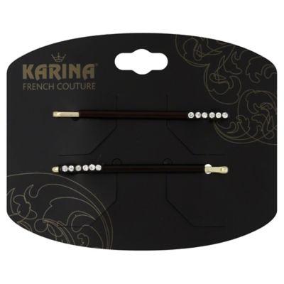Karina French Couture 2-Pack Tortoise Rhinestone Bobby Pin