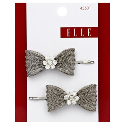 Elle 2-Count Bow Mesh Bobby Pins with Rhinestones