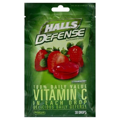 Halls Defense 30-Count Vitamin C Supplement Drop in Strawberry