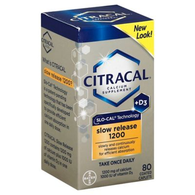 Citracal Calcium + D3 80-Count Slow Release 1200 Coated Tablets