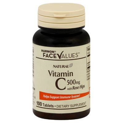 Harmon® Face Values™ Natural Vitamin C with Rose Hips with Calcium 100-Count 500 Mg Tablets