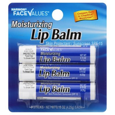 Harmon® Face Values™ .15 oz. 3-Pack Moisturizing Lip Balm with SPF 15