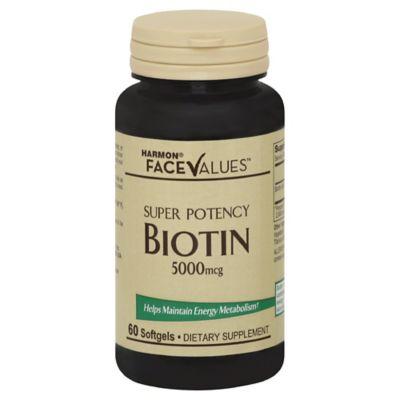 Harmon® Face Values™ Biotin 60-Count 5000 mcg Softgels