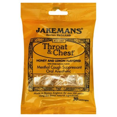 Jakemans Throat & Chest 30-Count Menthol Lozenges in Honey Lemon