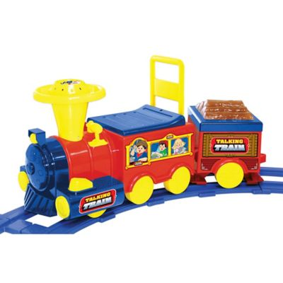 Kid Motorz Talking Train 6-Volt Ride-On with Track in Red & Blue