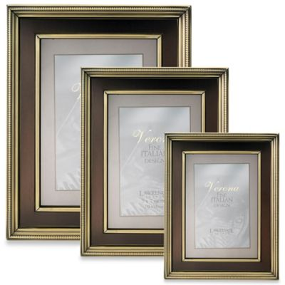 Lawrence Frames 4-Inch x 6-Inch Brushed Brass Picture Frame with Bronze Inner Panel