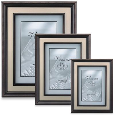 Lawrence Frames Bronze 4-Inch x 6-Inch Picture Frame with Brushed Gold Inner Panel