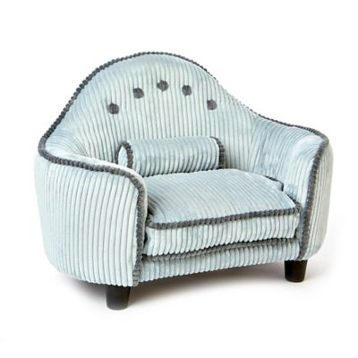 Lucas Corduroy Headboard Dog Bed in Light Blue