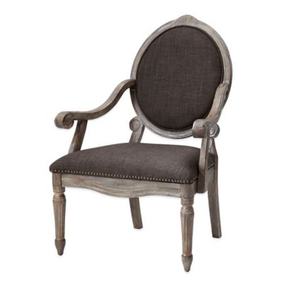 Madison Park Brentwood Oval Back Wood Arm Chair in Grey