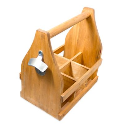 Wooden 6-Pack Beer Caddy with Bottle Opener