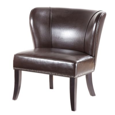 Madison Park Hilton Concave Back Armless Chair in Brown
