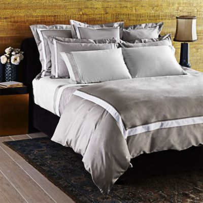 Frette At Home Arno Queen Duvet Cover in Stone/White