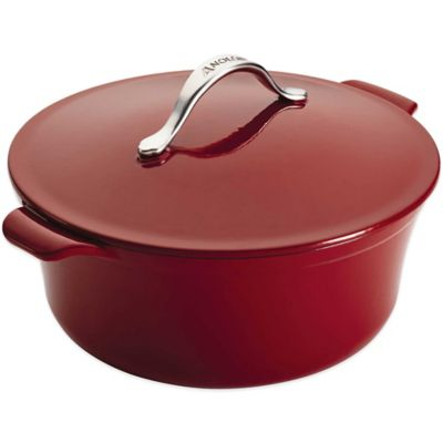 Anolon® Vesta Cast Iron 4-Quart Oval Covered Casserole in Red