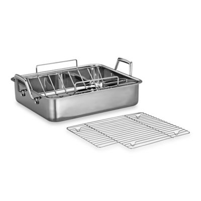 Tramontina® 16.5-Inch Deep Roasting Pan with Basting Grill and V-Rack