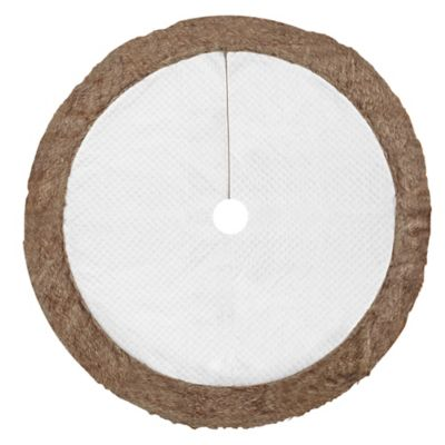 52-Inch White Quilted Velvet Tree Skirt with Grey Border