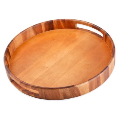 B. Smith Acacia Wood Round Tray