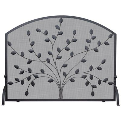 UniFlame® Single Panel Fireplace Screen With Leaves in Black