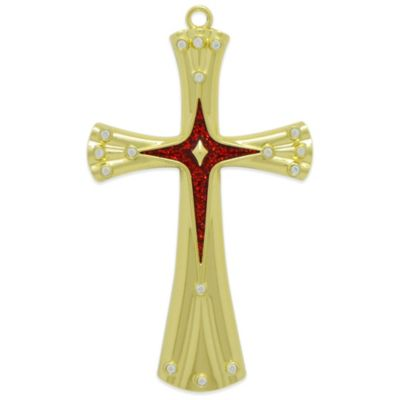 Harvey Lewis™ Brass-Plated Cross Christmas Ornament Made with Crystals from Swarovski®