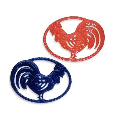 Chasseur® Cast Iron Rooster Trivet in Blue
