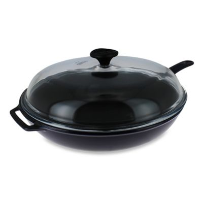 Chasseur® 11-Inch Cast Iron Fry Pan with Handle and Glass Lid in Blue
