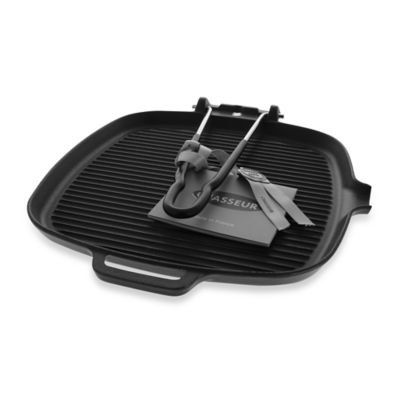 Chasseur® Cast Iron Square Grill with Folding Handles in Black